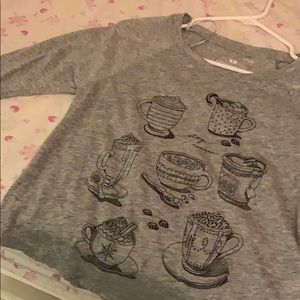 shirt with lil coffee designs